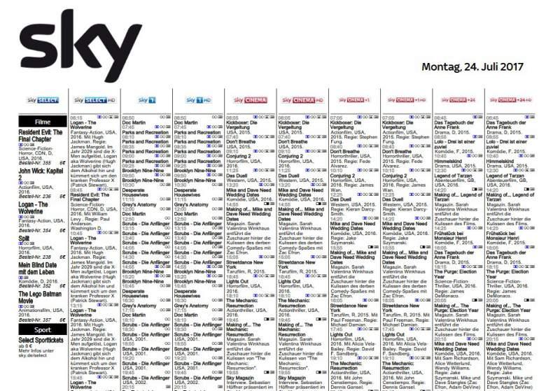Tv Programm Inkl Sky