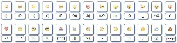 Facebook smileys with the right combination of characters