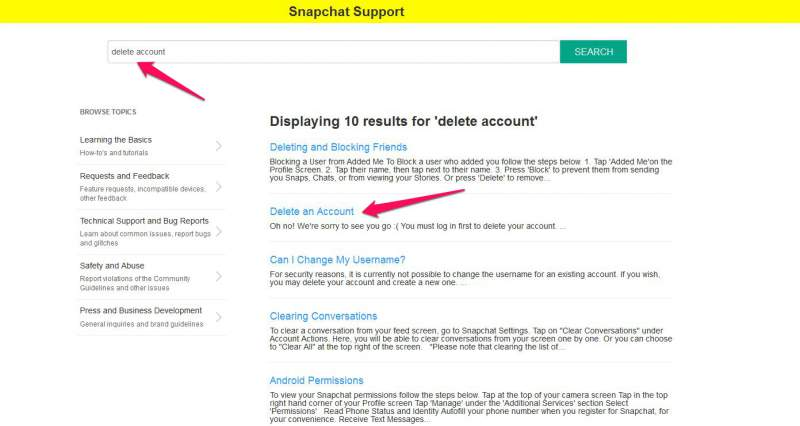 Excluir Snapchat AccountLink