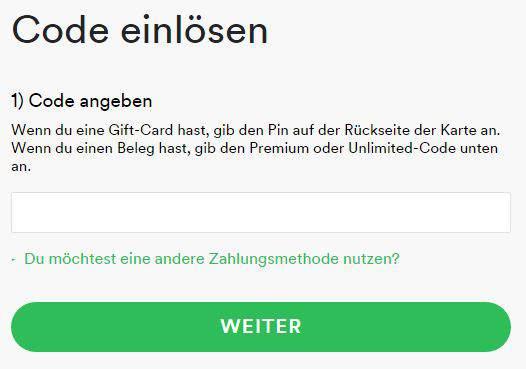 spotify karte einlösen Redeem voucher or give Spotify