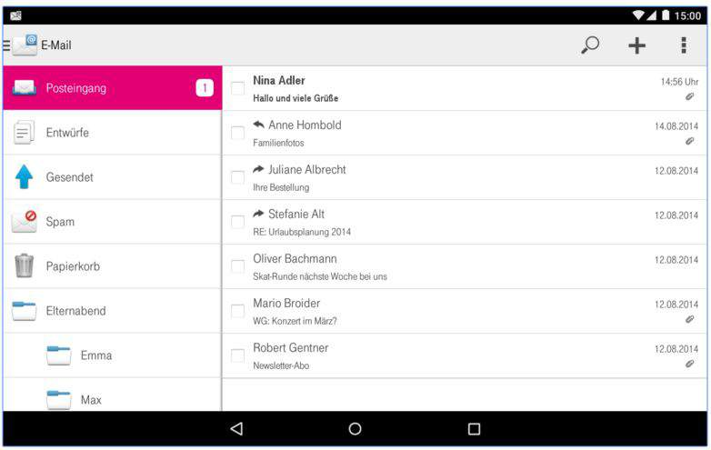 Telekom Mail app features
