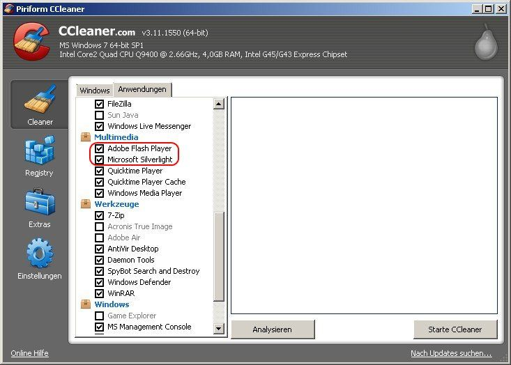 CCleaner Silverlight Flash Cookies