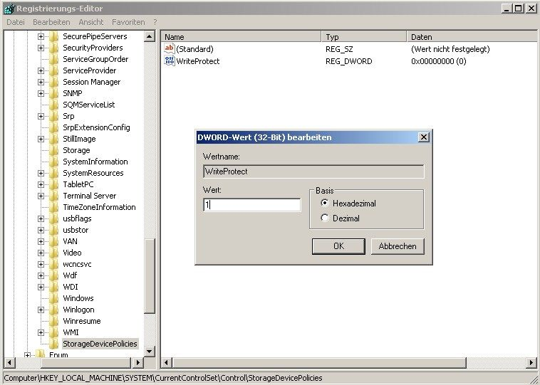 USB write access registry