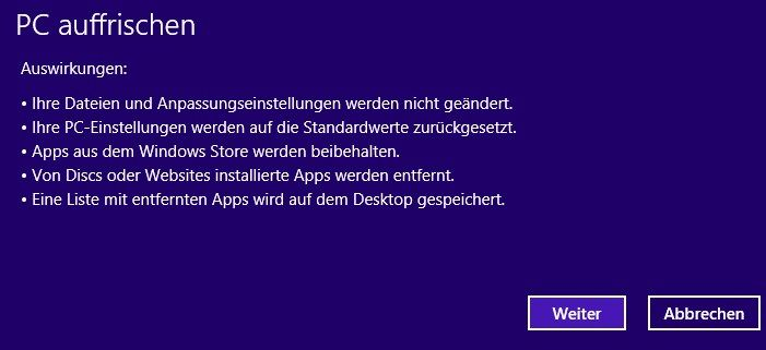 Windows 8 refresh confirmation