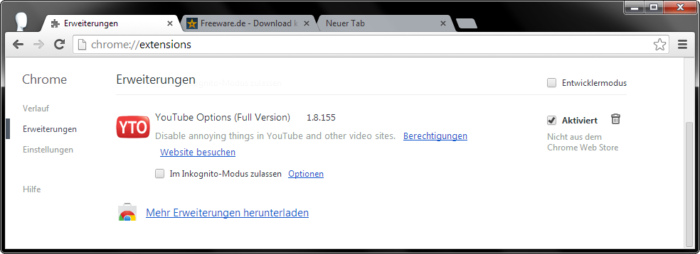 CRX: Installeer Chrome-extensies zonder Web Store Screenshot 4