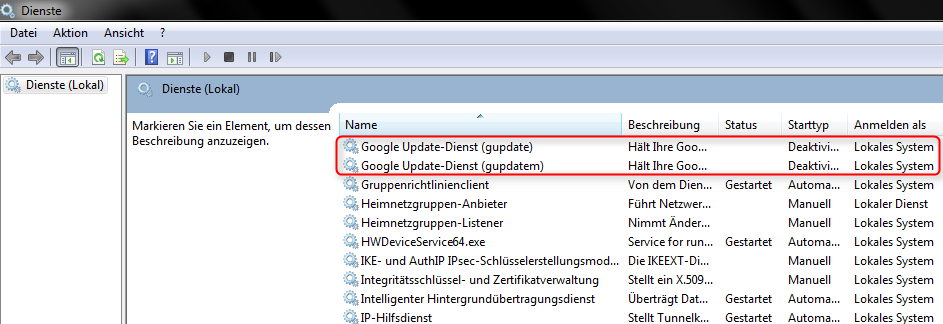 Google Update Services terminate Screenshot1