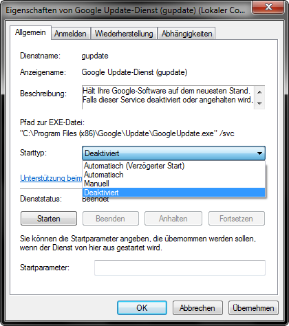 Google Update Services terminate Screenshot2
