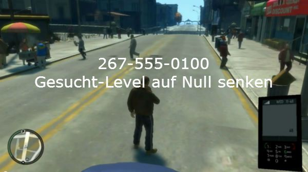 reduce GTA 4 Cheats Wanted level to zero