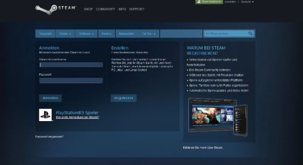 Steam pagina di login conto vendita
