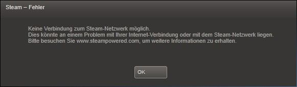 Unable to connect to Steam network possible
