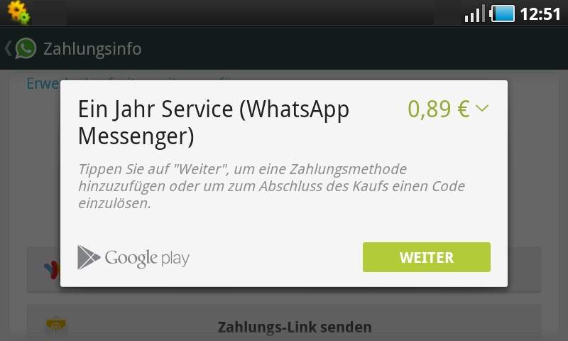 WhatsApp pagar Google Play