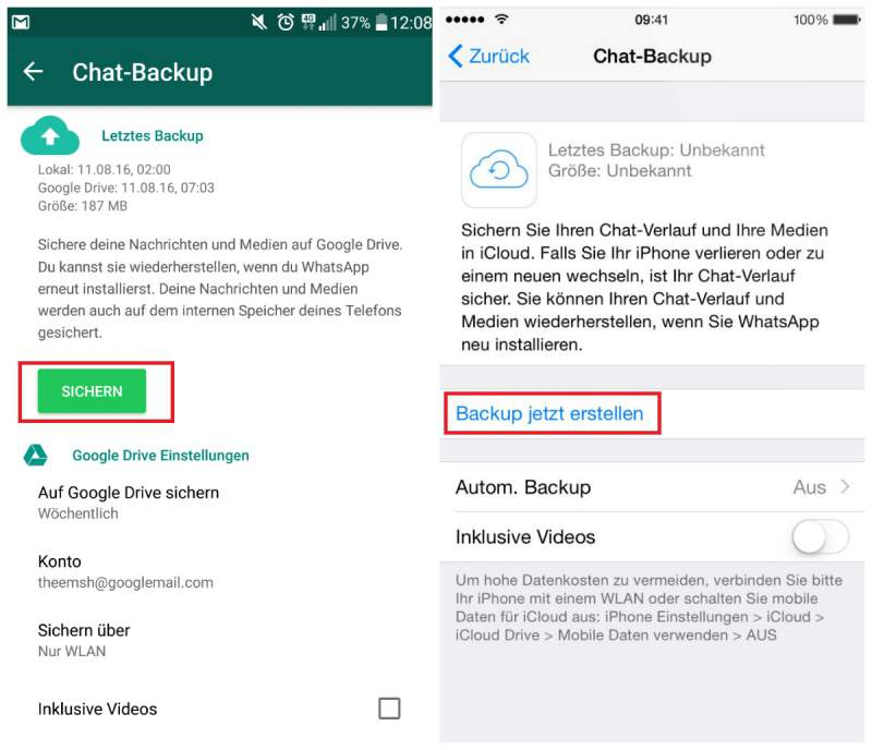 WhatsApp historial de chat Copia de seguridad