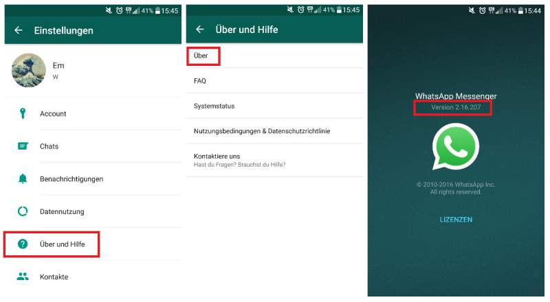 WhatsApp mise à jour Android