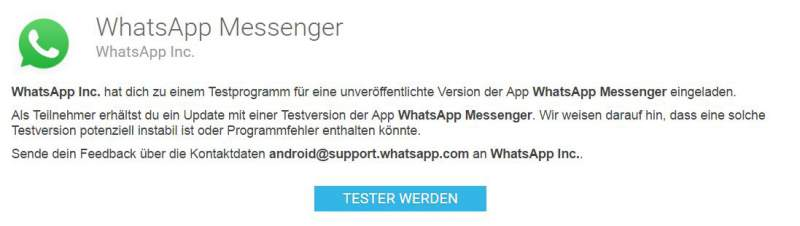 WhatsApp mise à jour Android Beta