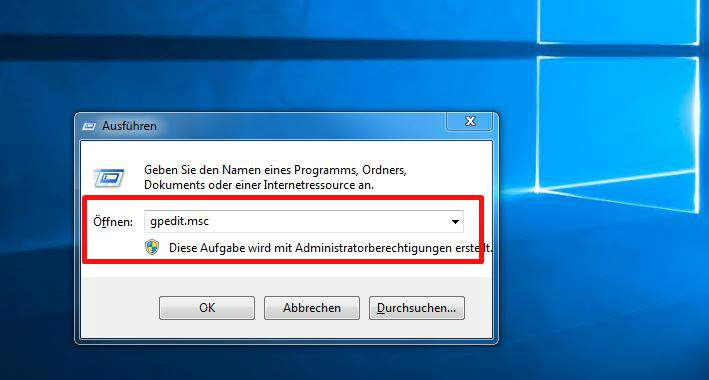 Windows 10 Blocco schermo finestra Esegui disabilitare